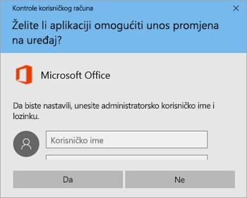 Snimka zaslona na kojoj se prikazuje prozor Kontrola korisničkog računa