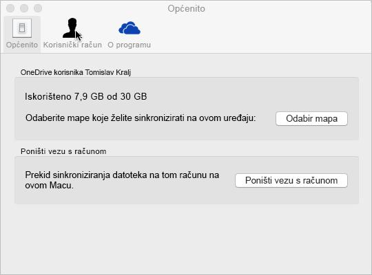 Sinkronizacija odabranih mapa na servisu OneDrive za Mac