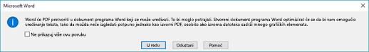 Word potvrđuje da će pokušati pretočiti PDF datoteku koju ste otvorili.