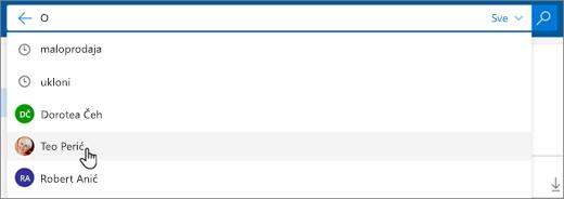 Snimka zaslona s predloženim osobama u rezultatima pretraživanja