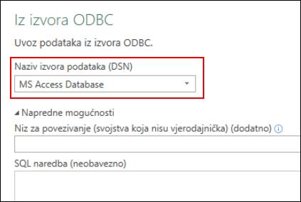 Power Query – ODBC poveznik – podrška za odabir DNS-ova za korisnika/sustav