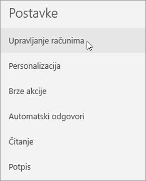 Prikazuje odabir stavke Upravljanje računima na izborniku postavki aplikacija Pošta