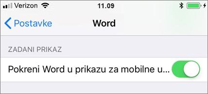 Odabrana je postavka pokretanja programa Word u prikazu za mobilne uređaje