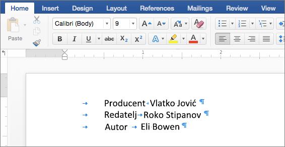 Primjer prikazuje tekst nakon uklanjanja pomaka tabulatora.