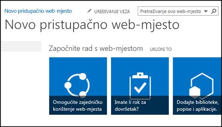 Snimka zaslona novog web-mjesta sustava SharePoint na kojoj su prikazane pločice koje se koriste za prilagodbu web-mjesta