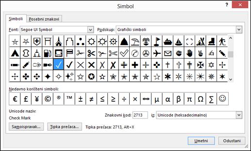 Popis posebnih znakova dostupnih s fontom Wingdings.