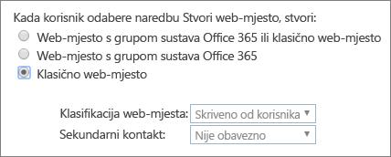 Padajući izbornik klasifikacija web-mjesta
