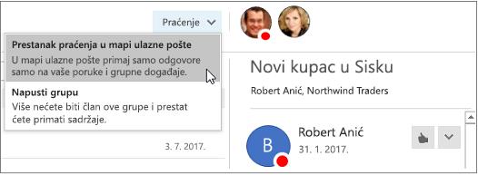Gumb u zaglavlju grupe u programu Outlook 2016 pretplati se