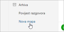 Snimka zaslona s gumbom Nova mapa.