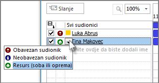 kliknite ikonu s lijeve strane imena, a zatim resurs