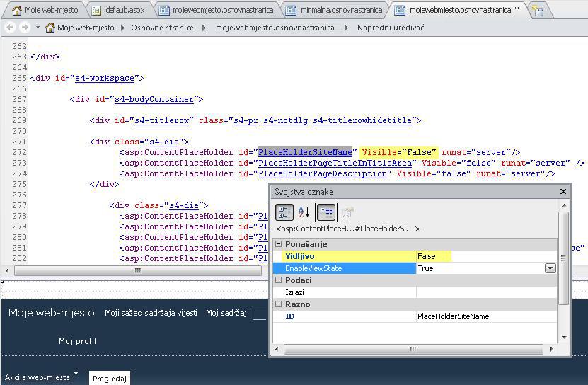 Time se prikazuju svojstva oznaka za kontrolu PlaceHolderSiteName.