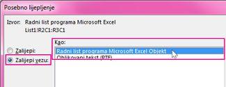 Odabir programa Microsoft Excel