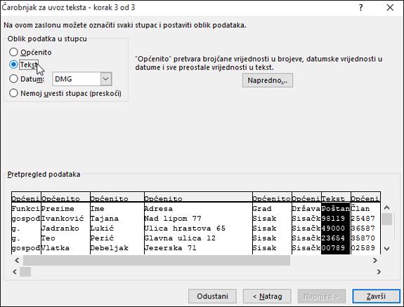Mogućnost Tekst za oblikovanje podataka stupca istaknuta je u čarobnjaku za uvoz teksta.