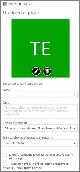 Kliknite Smjernice za korištenje grupa da biste pogledali smjernice za grupe sustava Office 365 u svojoj tvrtki ili ustanovi