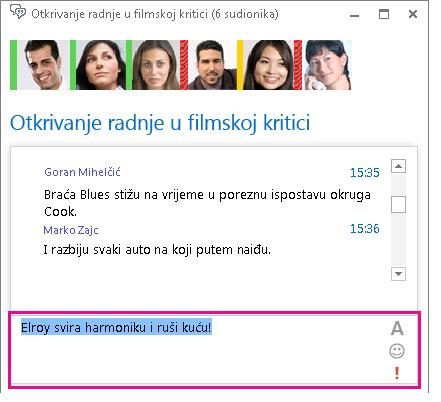 Snimka zaslona s prozorom sobe za razgovor u kojoj se prikazuje poruka s promijenjenim fontom i dodanim emotikonom