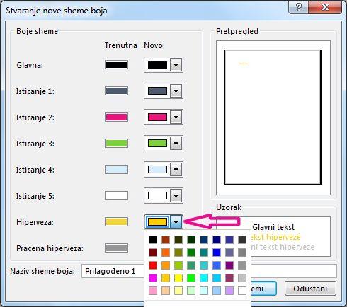 Stvaranje nove sheme boja u programu Publisher radi promjene boje hiperveze