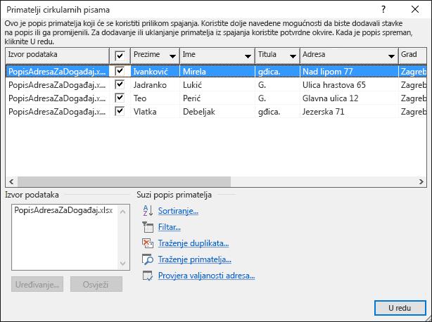Dijaloški okvir Primatelji cirkularnih pisama koji prikazuje sadržaj proračunske tablice programa Excel koja se koristi kao izvor podataka za popis poruka e-pošte