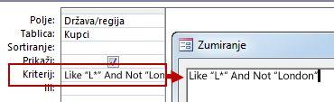 Slika dizajna upita s primjenom kriterija NIJE i I NIJE s tekstom koji treba izuzeti iz pretraživanja