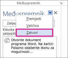 Zatvaranje međuspremnika u programu Word