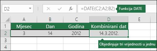 Funkcija DATE – 2. primjer