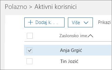 Odaberite korisnika kojeg želite blokirati