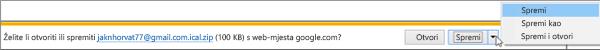 Odaberite mjesto gdje želite spremiti izvezeni Google kalendar.