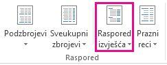 Gumb Raspored izvješća na kartici Dizajn
