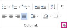 Na kartici Polazno kliknite strelicu pokretača da biste otvorili dijaloški okvir Odlomak.