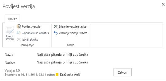 SharePoint 2016 povijest dijaloški okvir s prikazom prethodne verzije