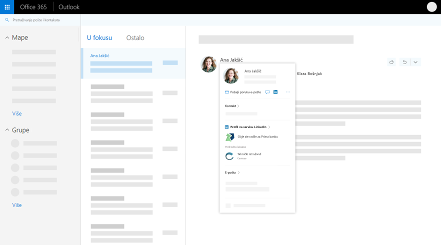 Kartica profila u programu Outlook