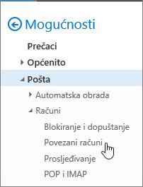 Snimka zaslona izbornika mogućnosti E-pošta s prikazom mogućnosti Povezani računi u odjeljku Računi