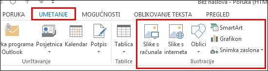 Umetanje slike programa Outlook 2013