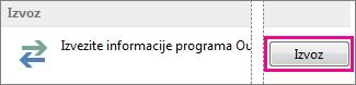 Dodatne mogućnosti programa Outlook – Izvoz