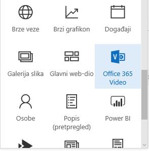 Snimka zaslona koja prikazuje gumb izbornika za Office 365 Video u sustavu SharePoint.