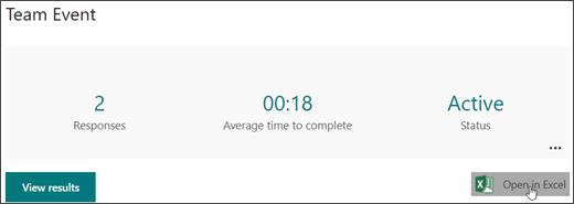 Otvaranje rezultata obrasca u Excel