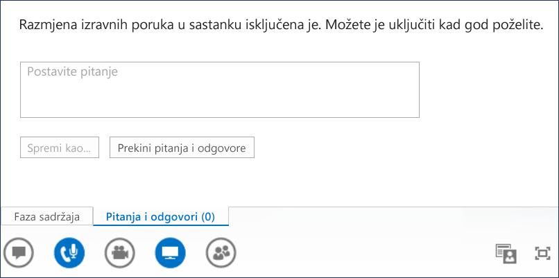 Snimka zaslona izlagača za pitanja i odgovore