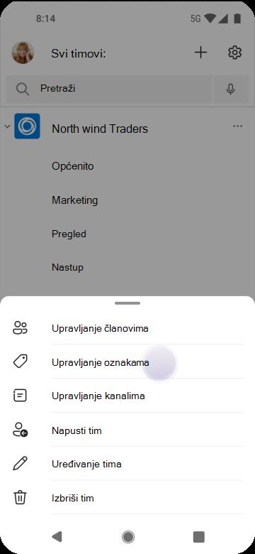 Upravljanje oznakama u aplikaciji Teams pomoću sustava Android