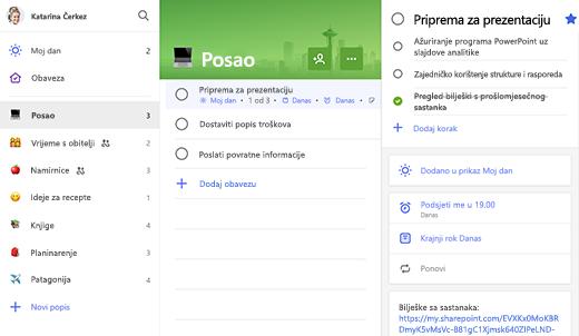 Snimka zaslona popisa Posao s otvorenom mogućnošću Priprema za prezentaciju u prikazu detalja