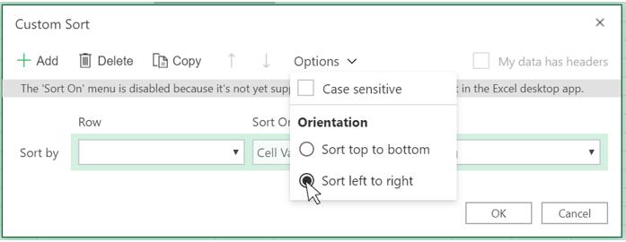 Prikazuje kako odabrati sortiranje na lijevoj strani u dijaloškom okviru prilagođeno sortiranje