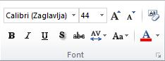 Grupa Font na kartici Polazno na vrpci programa PowerPoint 2010