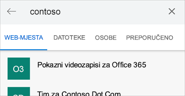 Snimka zaslona rezultata pretraživanja