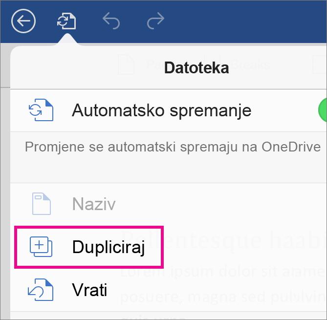 dodirnite datoteka, a zatim dupliciraj da biste spremili dokument pod drugim nazivom