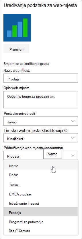 Povezanost web-mjesta s web-mjestu koncentratora sustava SharePoint