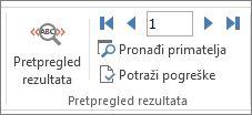 Snimka zaslona s karticom Skupna pisma u programu Word i grupom Pretpregled rezultata.