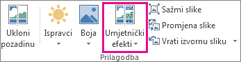 umjetnički efekti u grupi prilagodba na kartici alati za slike