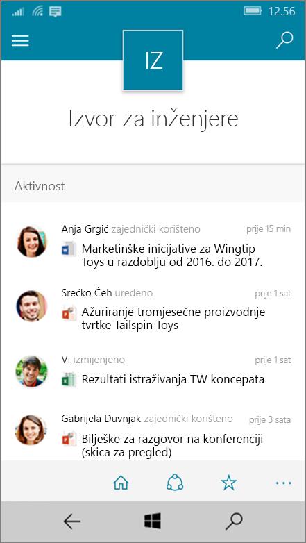 Windows 10 Mobile prikazom aktivnosti, datoteke, popise i navigacije