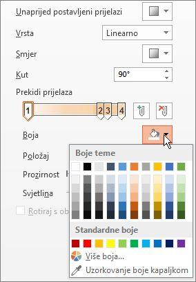 Promjena boje svakog graničnika prijelaza