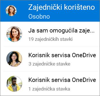 Prikaz zajedničkih datoteka u aplikaciji OneDrive za Android