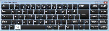 zaslonska tipkovnica sa znakovima ruske ćirilice