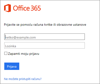 stranica za prijavu na web-mjestu portal.office.com